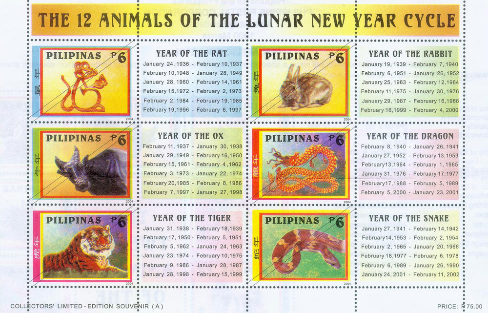 stamps featuring the 12 animals of lunar new year cycle - Chinese New Year 1987